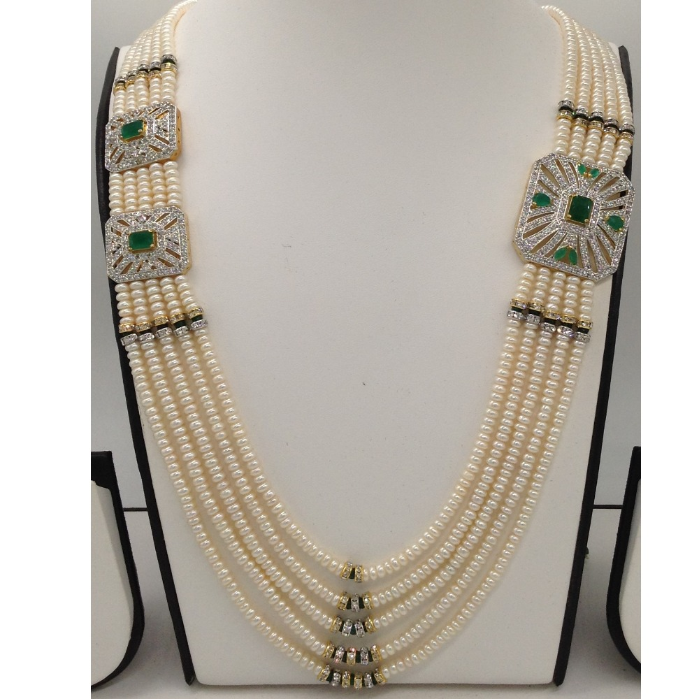 White and greencz broochset with 5lines flatpearls mala jps0472