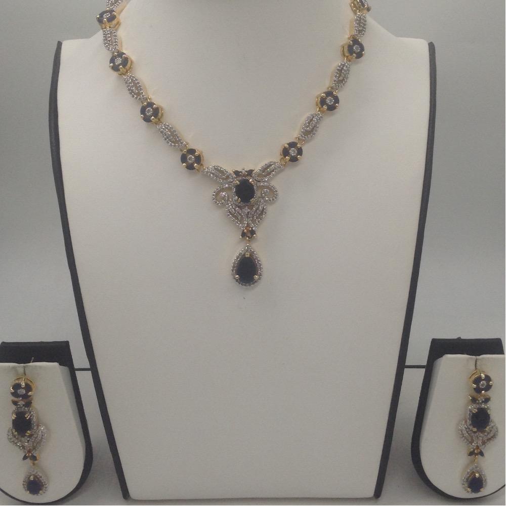 Blue Sapphires And White CZ Stones Necklace Set JNC0058
