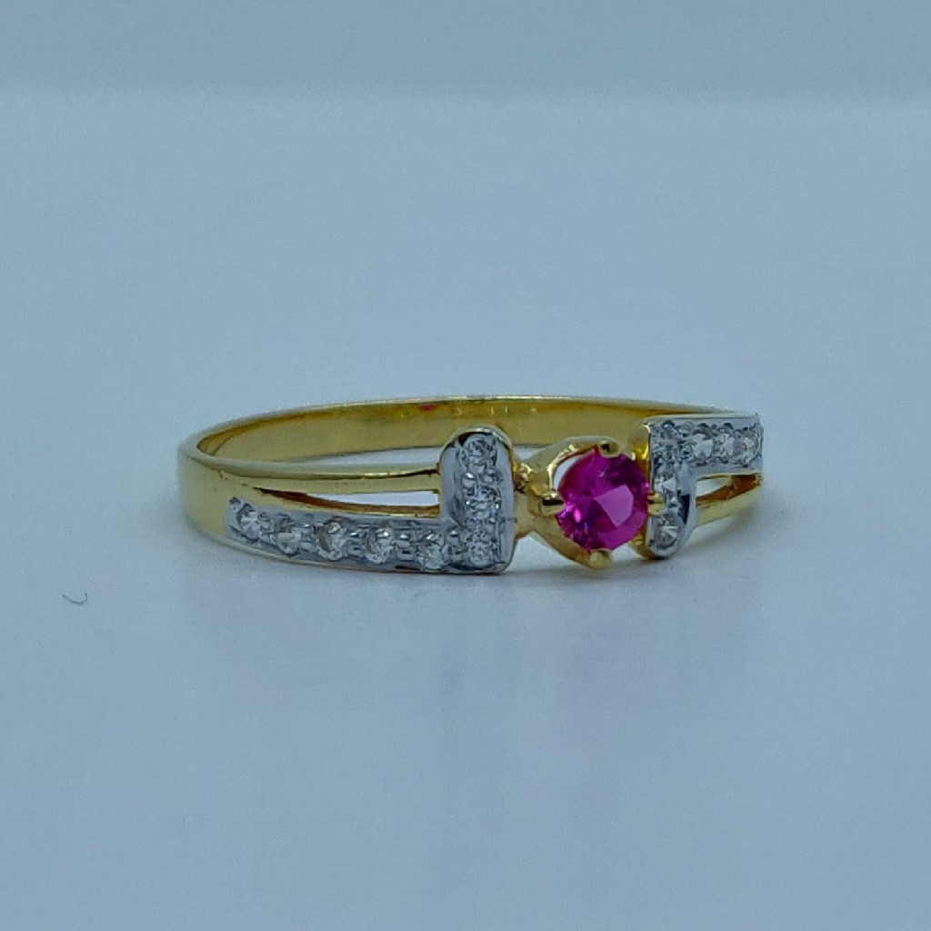 916 HM light weight ladies ring with color stone